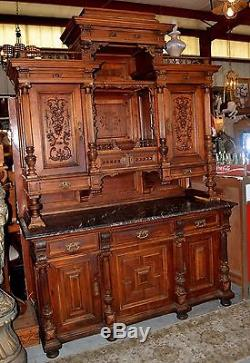 Large Antique Ornate Hutch with Marble Top Beautiful Detail Over 8 Feet Tall