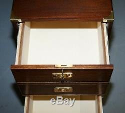 Large Military Campaign Three Drawer Filing Cabinet Mahogany Satinwood Lined