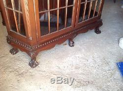 Large Solid Mahogany Federal Chippendale Style Fretwork China Cabinet