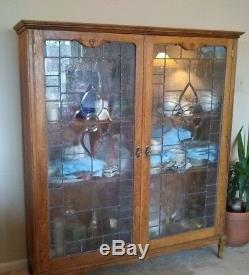 Lg Antique Oak & Leaded Glass China Cabinet Display case Bookcase Local pickup