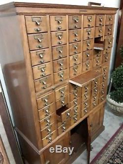 Library Bureau SoleMakers Card Catalog 60 Drawer, 3 Cabinet Bottom Vintage Oak
