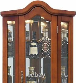 Lighted Corner Curio Cabinet 5-Tier Glass Wood Liquor Cabinet with Shelves