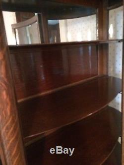Lions Head Quarter Sawn Oak Curved Glass China Cabinet