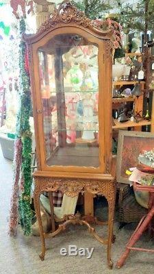 Liquidation SALE French style Carved Cabinet Vitrine Ornate Curio ca. 1950s 60s