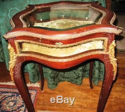 Louis XV Style Mahogany Bronze Mounted Vitrine Display Table