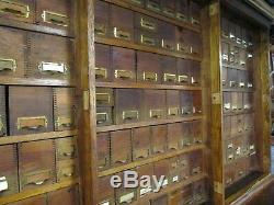 MASSIVE ANTIQUE / VINTAGE 1920s HARDWARE STORE 173-DRAWER OAK STORAGE CABINET