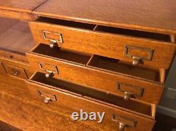Macey Oak Cabinet Card File Book Case Combo