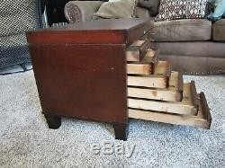 Mahogany Brass Library File Cabinet Wood Dentist Chest Paper Sorter Coffee Table