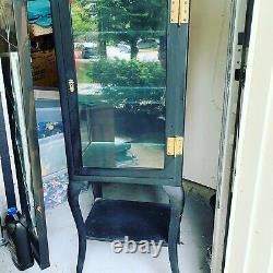Medical Dental Cabinet Antique Vintage Metal with Glass Shelves Display
