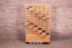 Mid-Century Maple 72-Drawer Library Card Catalog Cabinet, Circa 1940s