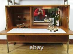 Mid Century Modern Teak Cocktail Cabinet Bar 1970s