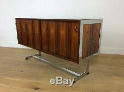 Mid century rosewood and chrome sideboard credenza by Merrow associates