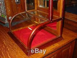Neat small size oak curved glass counter display case-15200