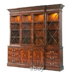 New Flame Mahogany Princess Diana Chippendale Breakfront Bookcase China Cabinet