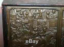 Nice Small Cabinet Or Cupboard With Bronze Doors Depicting A Jousting Tournament