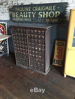 Nut And Bolt Card Catalog Cabinet Primitive Multi Drawer Apothecary Study Poplar