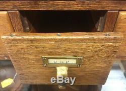 Oak 11 Drawer Library Stacking Card File Cabinet-library Bureau Sole Maker Label