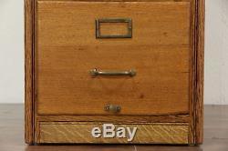 Oak 1920 Antique 4 Drawer Library or Office Filing Cabinet, Standard File 555