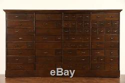 Oak 71 Drawer 1910 Antique File or Collector Cabinet, 4 Drawer Sizes