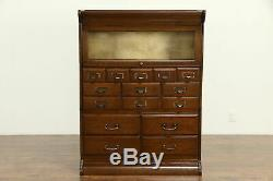 Oak Antique 15 Drawer Stacking Lawyer Office or Library File & Bookcase #31638