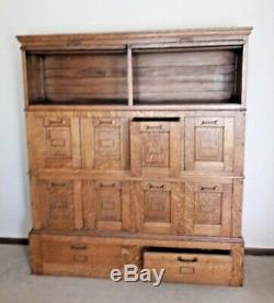 Oak Antique Stacking Lawyer Office Library File Bookcase Cabinet 1910 Detroit MI