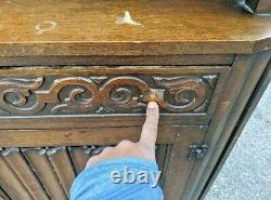 Oak COURT-CUPBOARD Jacobean Tudor Cabinet Old Charm