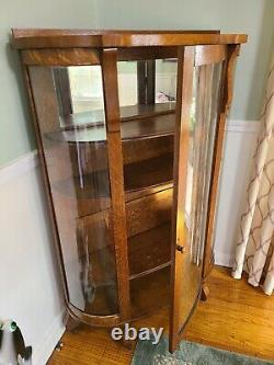 Oak China Cabinet with Curved Glass