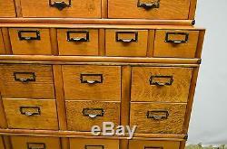 Oak File Card Catalog Stacking Cabinet Globe