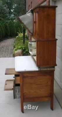 Oak Hoosier Style TIPPECANOE Cabinet, FLOUR BIN, 8pc. Spice Set, 3 Tambour Doors