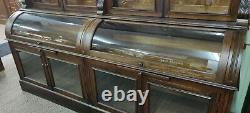 Oak back bar apothecary, pharmacy, general store cabinet from east Hampton Mass