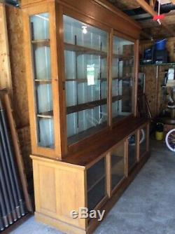 Original Antique Oak Apothecary Pharmacy General Store Display Cabinet Back Bar