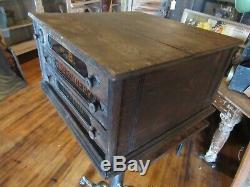Original Vintage 1900's H. B. EMBROIDERY COTTON Display Wood Cabinet Box Antique