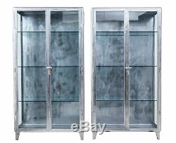 PAIR OF 1920's ART DECO POLISHED STEEL MEDICAL DISPLAY CABINETS