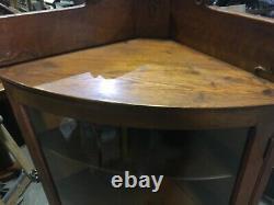 PRETTY antique Quartersawn oak corner cabinet glass door 4 shelves 67 h x 32 w
