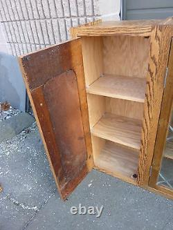 PRETTY custom made OAK kitchen CABINET salvaged OAK & leaded glass doors 57 x 39