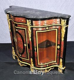 Pair Boulle Inlay Cabinets Sideboards French Louis XVI Credenza
