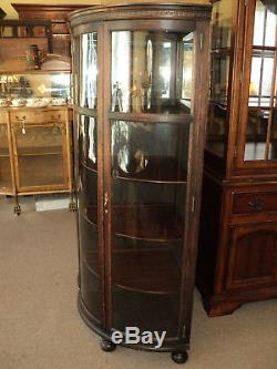 Pair of Antique Oak Curved Glass Corner Cabinets, ON SALE