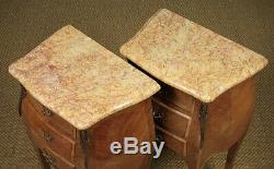Pair of French Marble Top Bedside Cabinets c. 1930