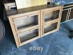 Pair of Maple custom built lighted display cabinets