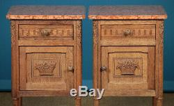 Pair of Oak & Marble Top Bedside Cabinets c. 1920