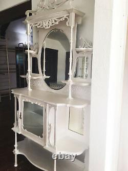 Pearl White Wood ORNATE Antique ETAGERE Open Display Shelves & Mirror Cabinet