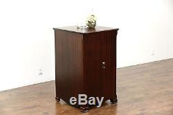 Pooley Signed Antique Mahogany Record Cabinet, Pat. 1910