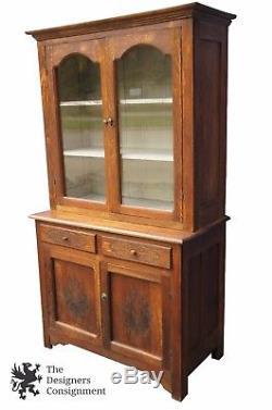 Merveilleux Primitive Antique Oak Carved Stepback Cupboard China Display Cabinet 74  Hoosier