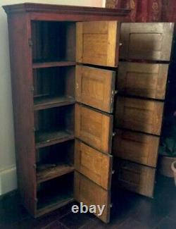 Primitive Farmhouse Cabinet, Antique Red Painted Library Catalog, Apothecary