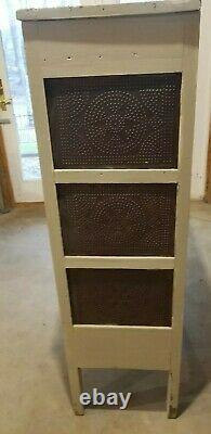 Primitive antique star punched tin pie safe cupboard cabinet painted white