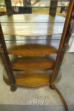 R. J. Horner Quartersawn Oak Curved Glass China Cabinet