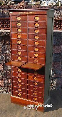 RARE Oak American Cabinet Letter File Store Dental Recipe Filing Cupboard