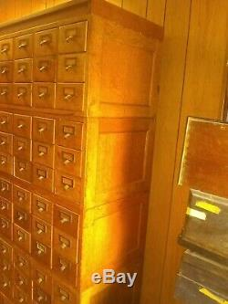 Rare Antique Library Card Catalog Index Cabinet 75 Drawer Oak Stacking 7 Pieces