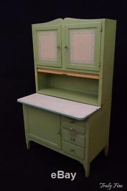Rare Jadeite Green Hoosier Sellers Kitchen Cabinet Bakers