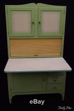 Rare Jadeite Green Hoosier Sellers Kitchen Cabinet Bakers Rack Original Knobs